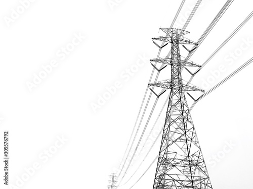 Valokuvatapetti Power transmission tower with white background