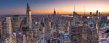 Fototapeta Nowy Jork - New York City Manhattan midtown buildings skyline evening sunset