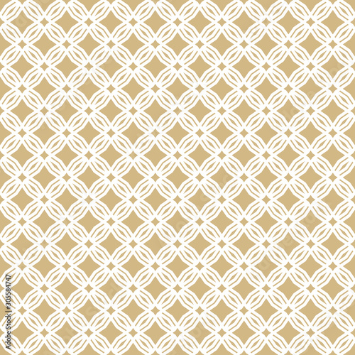 Golden abstract geometric seamless pattern in oriental style Wallpaper Mural