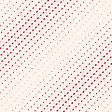Vector Geometric Halftone Pattern With Fading Rhombuses, Diamond Shapes. Abstract Minimal Red And Beige Background With Diagonal Gradient Transition Effect. Repeat Texture. Modern Minimalist Design