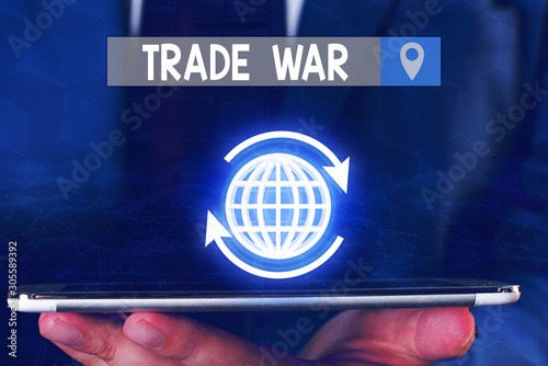Text sign showing Trade War Wallpaper Mural