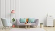Leinwanddruck Bild - Bright and cozy modern living room interior have sofa and lamp with white wall background.