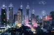 Wireless city at night