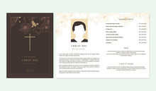Floral Memorial And Funeral Invitation Card Template Design, Outline Various Flowers, Brown Tone