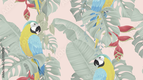 Botanical seamless pattern, various tropical leaves and blue-and-yellow macaw on Canvas Print