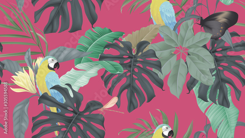 Botanical seamless pattern, various tropical leaves and blue-and-yellow macaw on pink