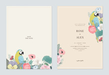 Floral Wedding Invitation Card Template Design, Colorful Flowers With Blue-and-yellow Macaw On Light Brown