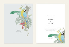 Floral Wedding Invitation Card Template Design, Colorful Flowers And Leaves With Blue-and-yellow Macaw
