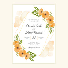 Watercolor Orange Poppy Floral Wedding Invitation Card