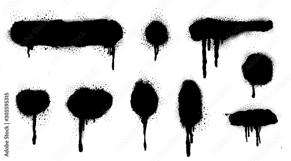 Fototapeta Spray Paint Vector Elements isolated on White Background, Lines and Drips Black ink splatters, Ink blots set, Street style.