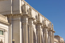 Union Station Building Facade In Washington DC, USA. Monumental Building With Statues Under A Clear Blue Sky.