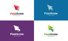 Set Of Elegant Pixel Arrow Logo Template, Fast Cursor Logo Designs Concept, Pixel Cursor Logo Template