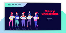 Mix Race People Holding Sheet Books And Giving Performance Merry Christmas Happy New Year Holidays Celebration Concept Men Women Standing Together Full Length Horizontal Greeting Card Vector