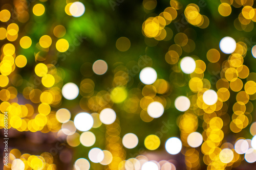 Leinwand Poster  Decorative outdoor string lights hanging on tree in the garden at night time fes