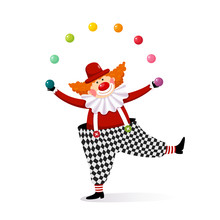 Vector Illustration Cartoon Of A Cute Clown Juggling With Colorful Balls.