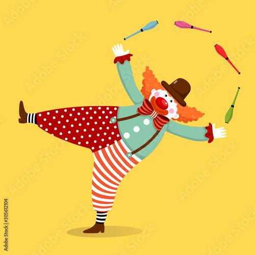 Obraz na plátne Vector illustration cartoon of a cute clown juggling with clubs.