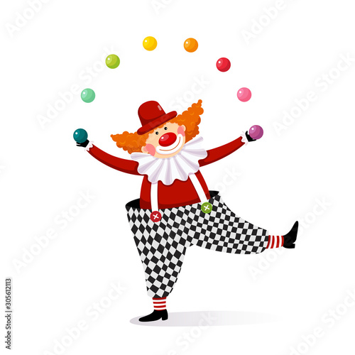 Fotografiet Vector illustration cartoon of a cute clown juggling with colorful balls