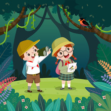 Cute Boy Watching Bird Through Binoculars And The Girl Drawing The Birds In The Forest. Children Have Summer Outdoor Adventure.