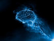 Mix Media 3D Render - Brain Blue Fire Smoke Effect On The Black Background