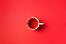 Cup Of Tea On Red Background. ...