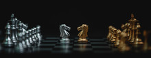 Business Competition And Strategy Plan Concept. Chess Board Game Gold And Silver Colour. Panoramic Image