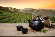 Cup Of Hot Tea With Teapot, Gr...