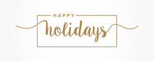 Happy Holidays  Lettering Gold...