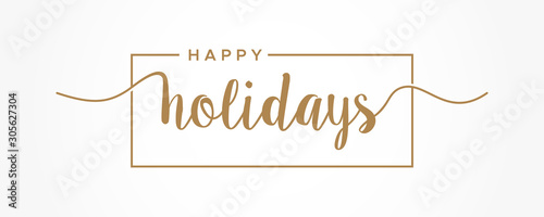 Photo Happy Holidays  lettering gold text handwriting  calligraphy isolated on white background