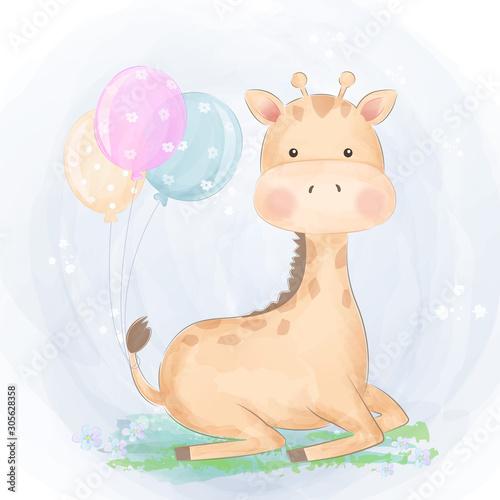 sliczna-zyrafa-i-balony