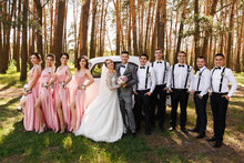 Group Wedding Photography. Bride And Groom Near Wedding Guests, Bridesmaids In Pink Dresses And Groomsmen With Bow Ties And Suspender. Stylish And Elegant Wedding