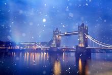 Famous Tower Bridge In Snowfal...
