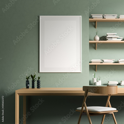 Cuadros en Lienzo Mock up poster frame in modern style interior with wooden work desk