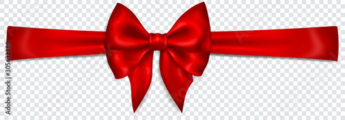 Beautiful red bow with horizontal ribbon with shadow on transparent background Fototapet