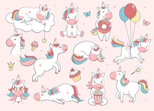 Cute Unicorn Set.  Vector Char...