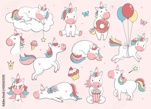 Photo Cute unicorn set