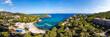 canvas print picture - Panorama Luftbild Traumstrand auf Mallorca