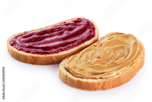 Fotomural Toasts with peanut butter and  berry jam isolated on white background