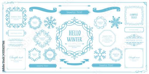 Obraz クリスマスフレーム 高級感のある冬のフレーム クリスマス ホリデーカード デザインテンプレート - fototapety do salonu