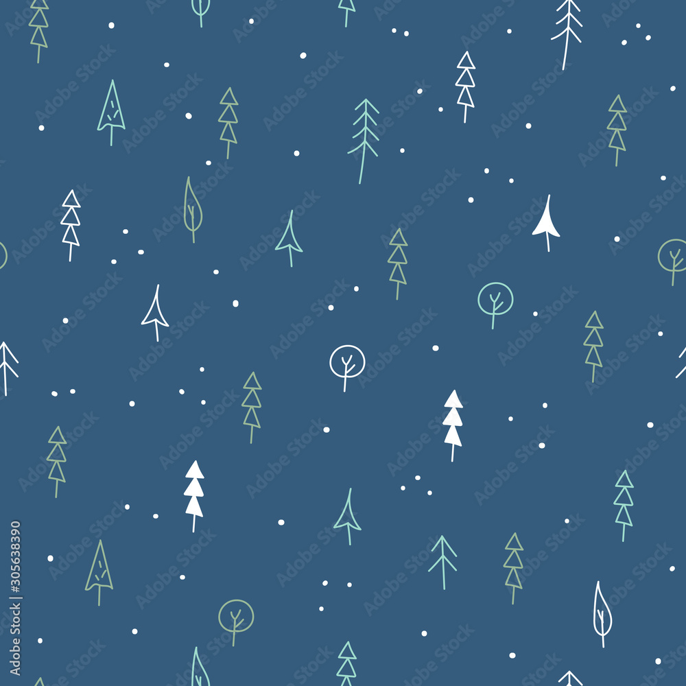 Cute simple winter pattern. Floral seamless pattern. Vector background with hand-drawn flowers and leaves. Christmas trees on dark blue backdrop. Wrapping graphic design.