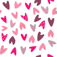 A Seamless Pattern With Cute Pink Checked Hearts And Polka Dots For Valentine's Day, Wedding Or Romantic Date, A Vector Pattern For Printing On Paper Or Fabric