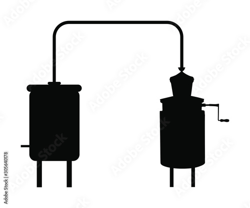 Vector silhouette of alembic apparatus for distill essential oils and alcoholic beverages Wallpaper Mural