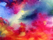 canvas print picture - Watercolor abstract bright colorful textural background handmade . Painting of sky and clouds during sunset . Modern cosmic pattern . Shine