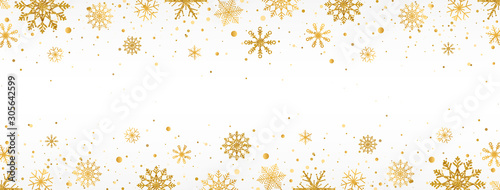 Obraz Gold snowflakes frame on white background. Golden snowflakes border with different ornaments. Luxury Christmas garland. Winter ornament for packaging, cards, invitations. Vector illustration - fototapety do salonu