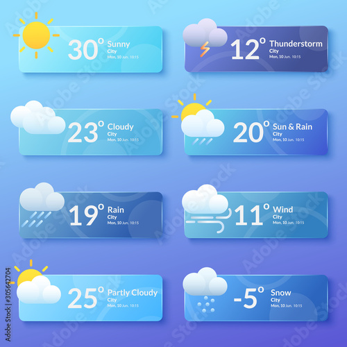 Cuadros en Lienzo Weather forecast. Meteorology. Set of flat style banners