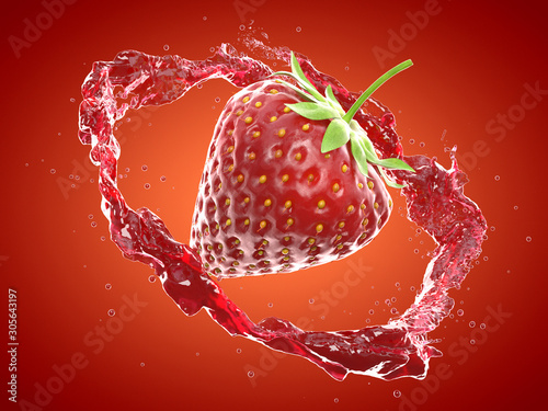 3d rendered food illustration of a stawberry splash