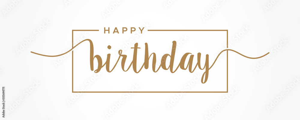 Fototapeta Happy Birthday lettering gold text handwriting  calligraphy isolated on white background. Greeting Card Vector Illustration.