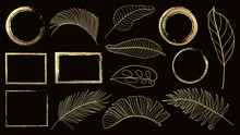 Gold Frame And Golden Tropical Leaves Vector Set. Gold Design Element For Cover, Cards, Wedding Invitation Cards Pattern And Background Decoration.