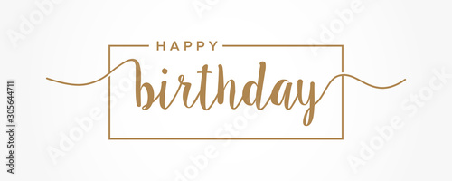 Fototapeta Happy Birthday lettering gold text handwriting  calligraphy isolated on white background. Greeting Card Vector Illustration. obraz