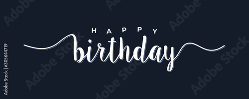 Happy Birthday lettering white text handwriting  calligraphy isolated on black background Canvas Print