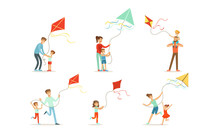 Adults And Children Fly A Kite. Set Of Vector Illustrations.